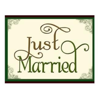 Apenas casado en fuente de la diversión del postal