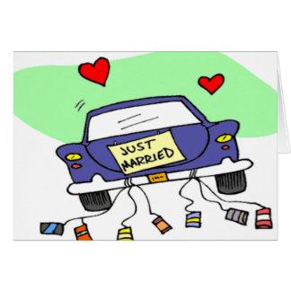 Apenas coche casado tarjeta