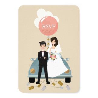 Apenas el boda casado del coche responde tarjeta