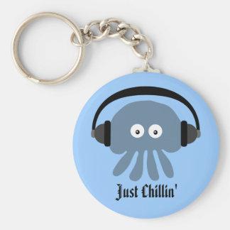 Apenas medusas azules de Chillin con los Llavero Redondo Tipo Chapa