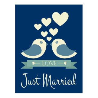 Apenas postal azul casada del boda de los