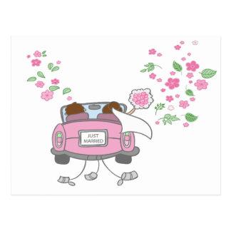 Apenas postal rosada casada de la invitación del b