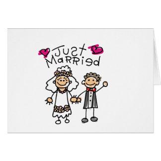 Apenas regalos casados de la luna de miel de los tarjeta de felicitación