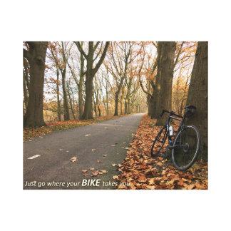 Apenas vaya a adonde su bici le toma impresión en lienzo
