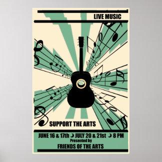 Apoye el poster de la música en directo de los art póster