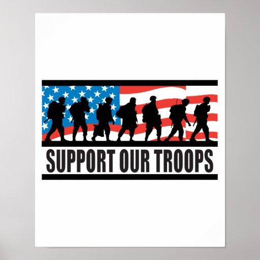 Apoye nuestro diseño de la bandera de las tropas posters