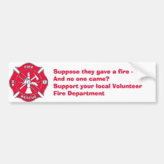 Apoye su cuerpo de bomberos voluntario local pegatina para coche