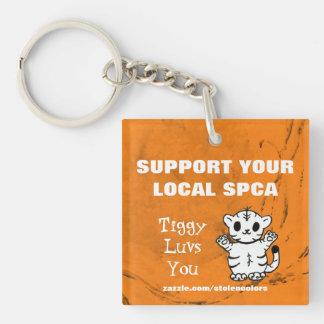 Apoye su SPCA local Tiggy Luvs usted 2,0 Llavero Cuadrado Acrílico A Doble Cara