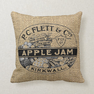 Apple atasc en la falsa arpillera cojín decorativo