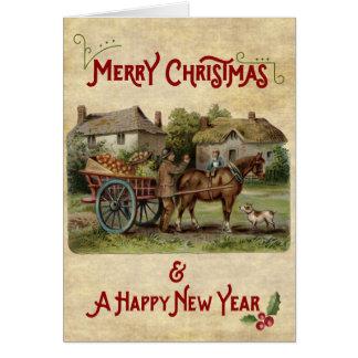 Apple Cart navidad y la tarjeta del Año Nuevo