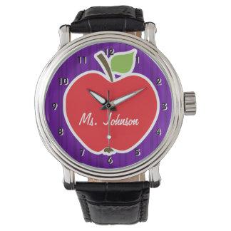 Apple en rayas verticales violetas oscuras relojes de pulsera