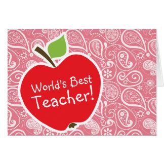 Apple encendido se ruboriza Paisley rosada Felicitación