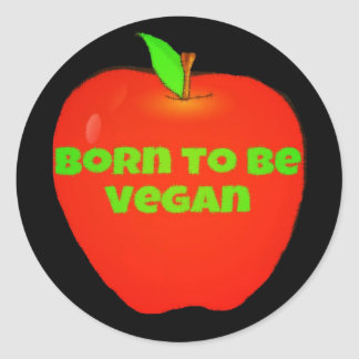 Apple llevado para ser vegano pegatina redonda