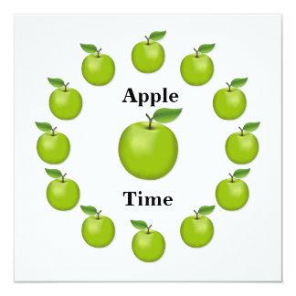 Apple mide el tiempo, granny smith invitación 13,3 cm x 13,3cm