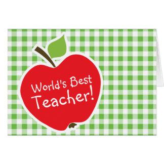 Apple para el profesor A cuadros verde Guinga Tarjetón