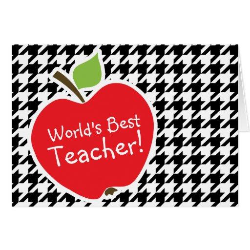 Apple para el profesor en Houndstooth negro y blan Felicitación