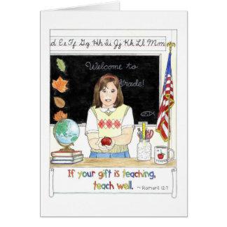 Apple para la tarjeta de profesor del profesor