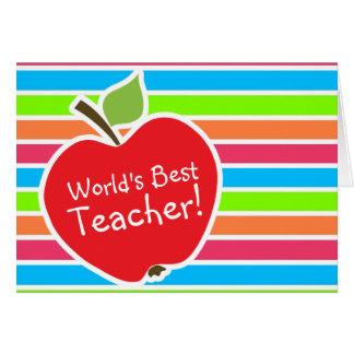 Apple; Rayas de neón; Verde azul rosado Felicitaciones