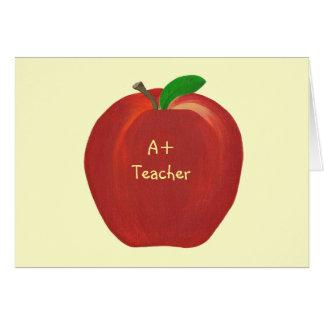Apple rojo, A+ Tarjeta de profesor, verso de encar