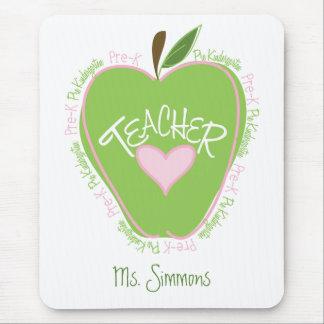 Apple rosado y verde pre de K del profesor Tapetes De Raton