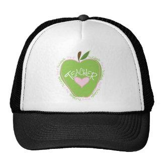 Apple rosado y verde pre de K del profesor Gorros Bordados