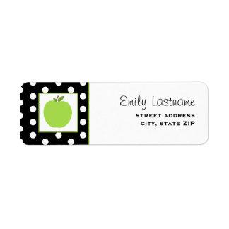 Apple verde/negro con los lunares blancos etiquetas de remite