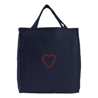 Applique del corazón bolsa de tela bordada