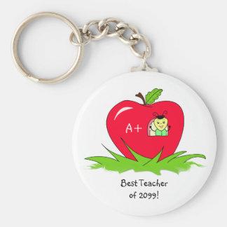 Aprecio Apple del profesor para el mejor profesor Llavero Redondo Tipo Chapa