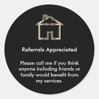 Aprecio de la remisión del agente inmobiliario pegatina redonda