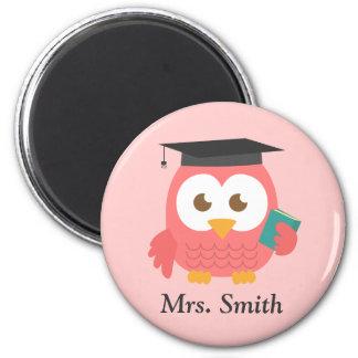 Aprecio del profesor, búho sabio rosado iman de frigorífico