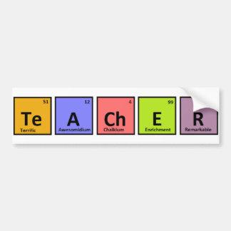 Aprecio del profesor de la tabla periódica pegatina para coche