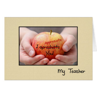 Aprecio lindo Apple del profesor para el profesor Felicitación