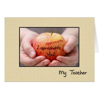 Aprecio lindo Apple del profesor para el profesor Tarjeta De Felicitación