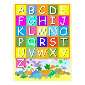 Aprenda su ABC con alfabeto de los dinosaurios Postal