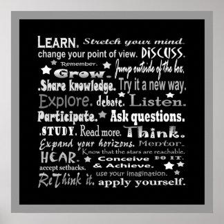 aprendizaje del collage de las palabras en negro póster