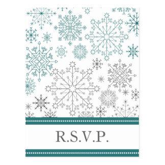 aqua gray snowflake mod winter wedding rsvp postcards
