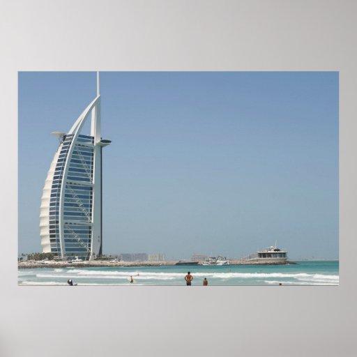Árabe del Al de Burj de la playa de la puesta del Impresiones