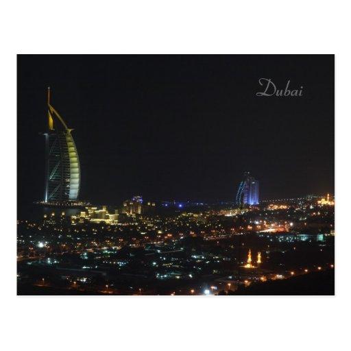 Árabe en la noche, Dubai - postal del Al de Burj