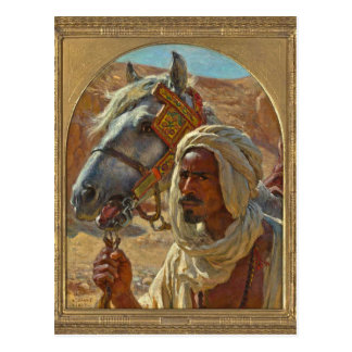 Árabe y su caballo por Dinet Postal
