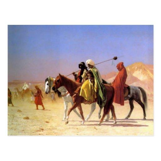 Árabes que cruzan el desierto por la postal de Ger