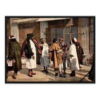 Árabes que disputan, vintage Photochr de Argel, Ar Postal