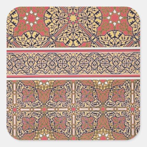 Arabesques del techo de la mezquita de calcomanías cuadradas personalizadas