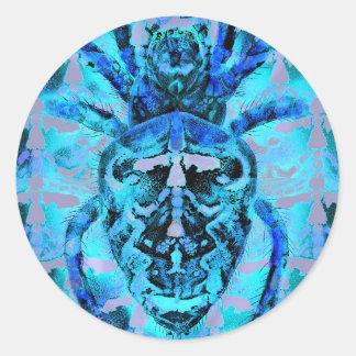 Arácnidos azules pegatina redonda