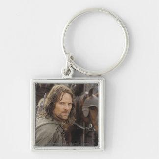 Aragorn con el caballo llavero cuadrado plateado