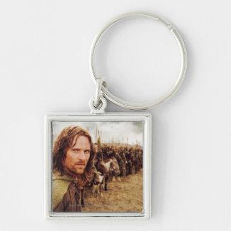 Aragorn más la línea de caballos llavero cuadrado plateado
