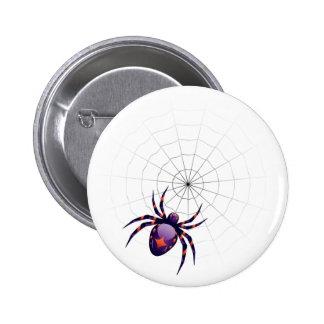 Araña de la violeta del dibujo animado chapa redonda 5 cm