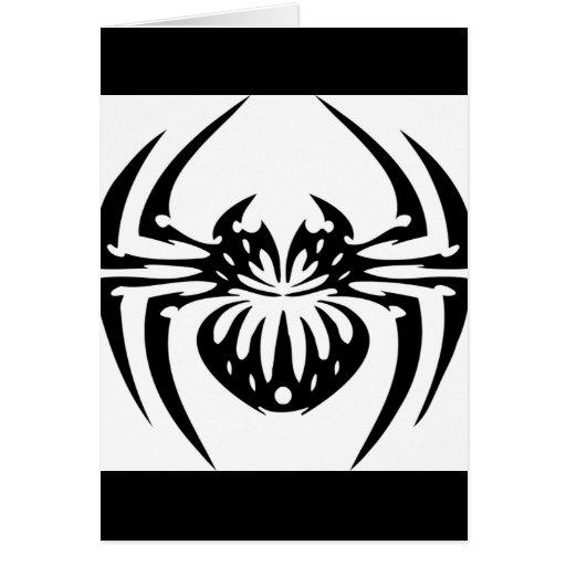 Araña negra y tribal felicitaciones