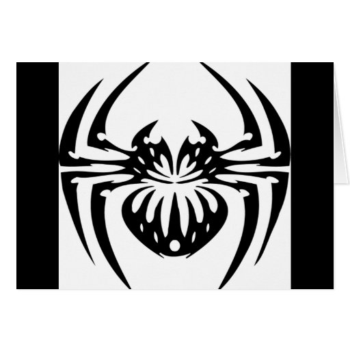 Araña negra y tribal tarjetas