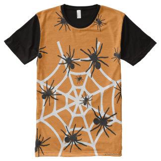 Arañas de Halloween Camiseta Con Estampado Integral