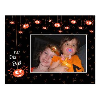 Arañas de Halloween y postal de la foto del Web